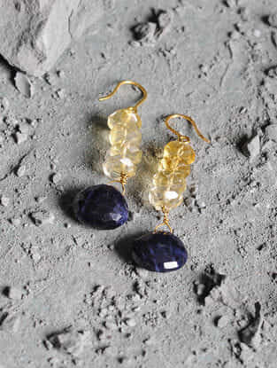 Sodalite and Crystal Gold Earrings