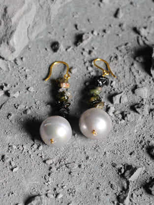 Tourmaline and Baroque Pearl Gold Earrings