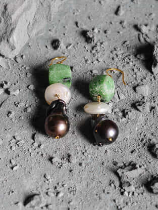 Black Baroque Pearl and Ruby Zoisite Gold Earrings