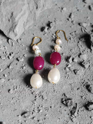 Red Jade and Fresh Water Pearl Gold Earrings