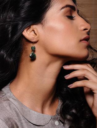 Ruby Zoisite Gold Earrings