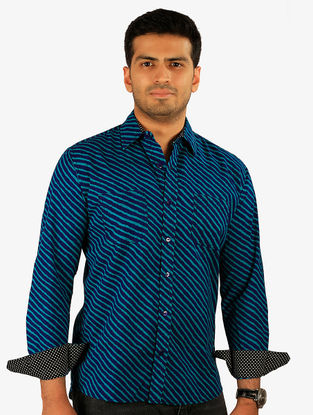 Blue Printed Full Sleeve Cotton Shirt