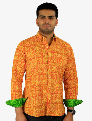 Orange-Green Printed Full Sleeve Cotton Shirt