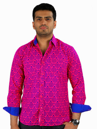 Pink-Blue Printed Full Sleeve Cotton Shirt