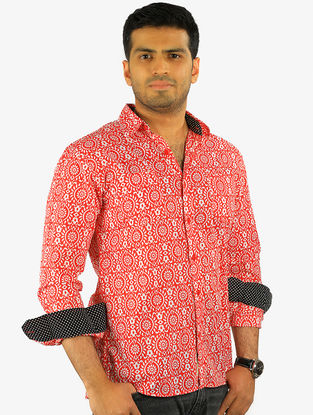 Red-Black Printed Full Sleeve Cotton Shirt