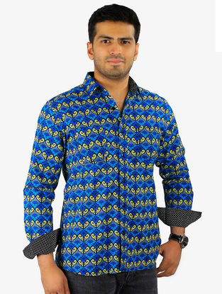 Indigo-Golden Printed Full Sleeve Cotton Shirt