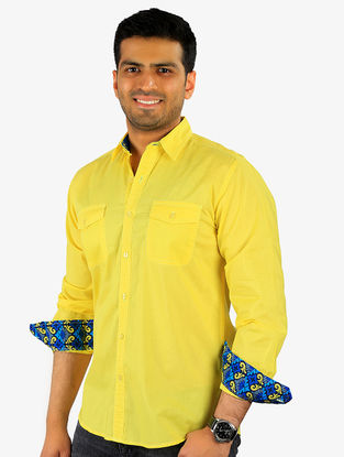 Yellow-Blue Full Sleeve Cotton Shirt