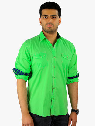 Green-Blue Full Sleeve Cotton Shirt