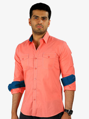 Peach-Blue Full Sleeve Cotton Shirt