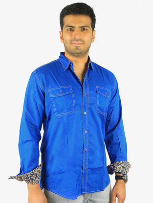 Blue Full Sleeve Cotton Shirt