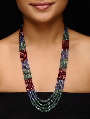 Ruby and Tanzanite Beaded Necklace