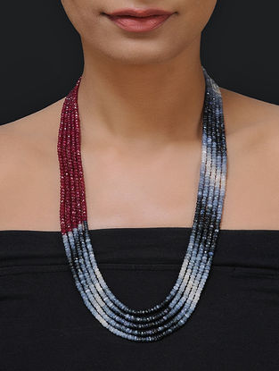 Ruby and Sapphire Beaded Necklace