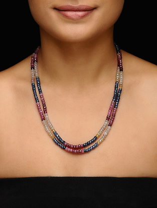 Ruby and Yellow Sapphire Beaded Necklace