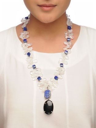 Lapis Lazuli and White Crystal Beaded Necklace