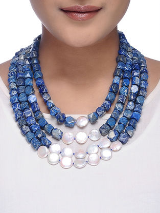 Lapis Lazuli and Baroque Beaded Necklace