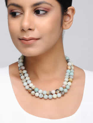 Multicolored Larimar Beaded Necklace