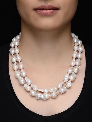 Baroque Pearl Beaded Silver Necklace