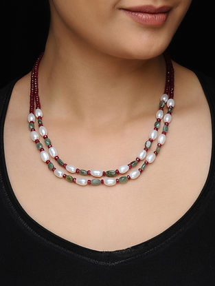 Emerald and Ruby Beaded Silver Necklace