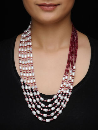 Ruby and Pearl Beaded Silver Necklace