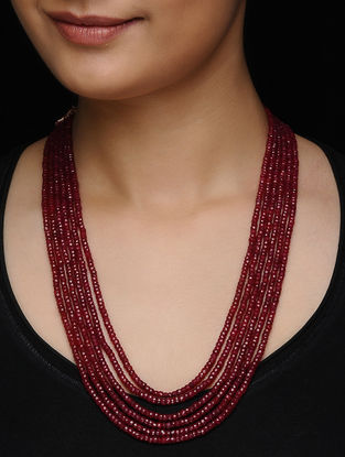 Ruby Beaded Multi-string Necklace
