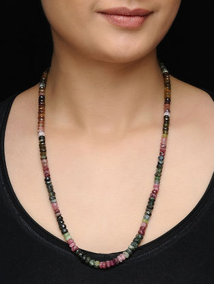 Tourmaline Beaded Silver Necklace