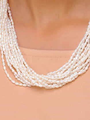 Pearl Beaded Multi-string Silver Necklace