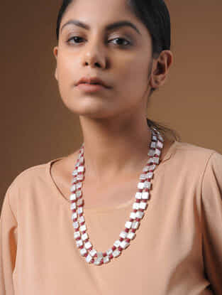 Ruby and Baroque Pearl Beaded Silver Necklace