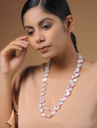 Spinel Ruby and Baroque Pearl Beaded Silver Necklace