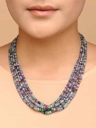 Sapphire Beaded Silver Necklace