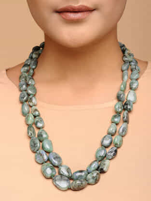 Emerald Beaded Silver Necklace