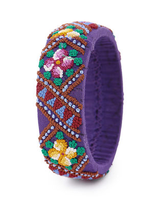 Purple-Multicolored Hand-Embroidered Bangle