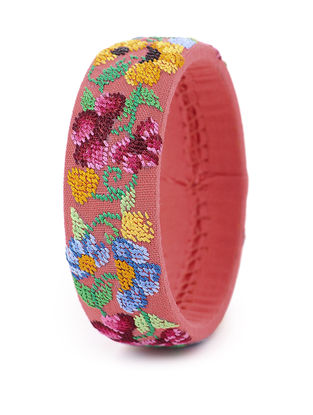 Orange-Multicolored Hand-Embroidered Bangle