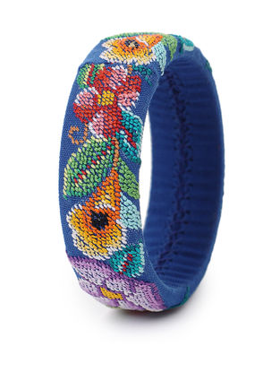 Blue-Multicolored Hand-Embroidered Bangle