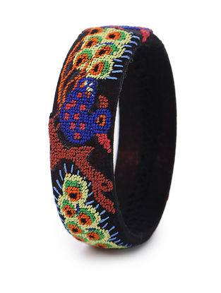 Black-Multicolored Hand-Embroidered Bangle