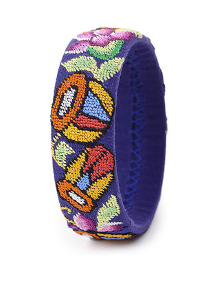 Blue-Multicolored Hand-Embroidered Bangle(Bangle Size-2.6in)