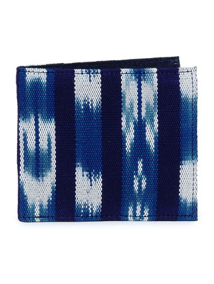 Indigo-White Ikat Cotton Wallet for Men