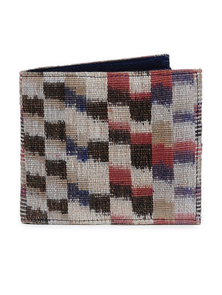 Brown-Red Ikat Cotton Wallet for Men