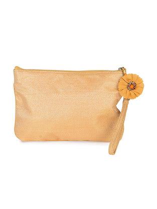 Beige Brocade Silk Wristlet