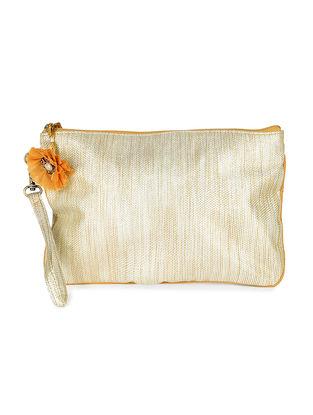 Ivory Brocade Silk Wristlet