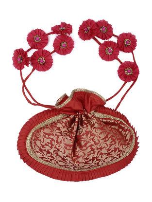 Red Brocade Silk Potli with Handmade Floral Drawstring