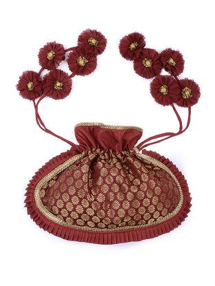 Maroon Brocade Silk Potli with Handmade Floral Drawstring and Buti