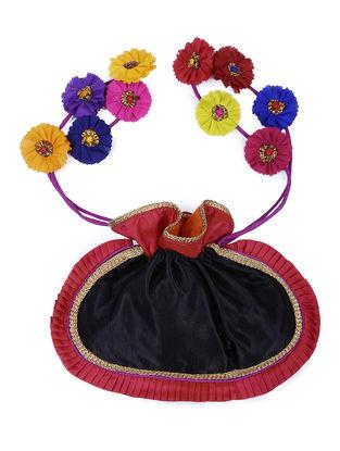 Black-Pink Mashru Potli with Handmade Floral Drawstring