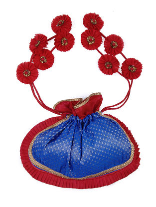 Blue-Red Brocade Silk Potli with Handmade Floral Drawstring and Tikli Work