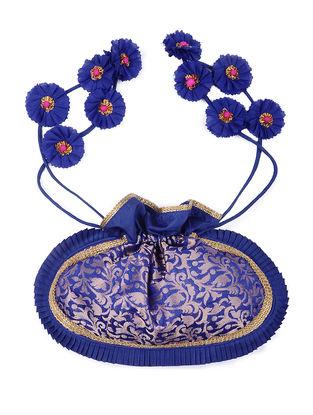 Blue Brocade Silk Potli with Handmade Floral Drawstring