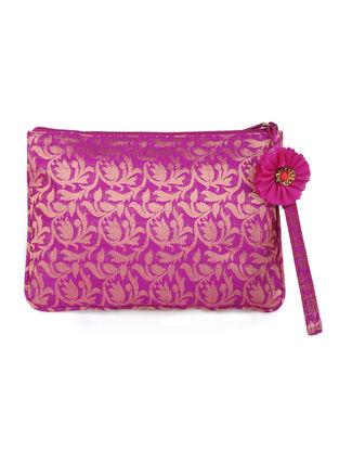 Fuchsia Brocade Silk Wristlet with Detachable Handle