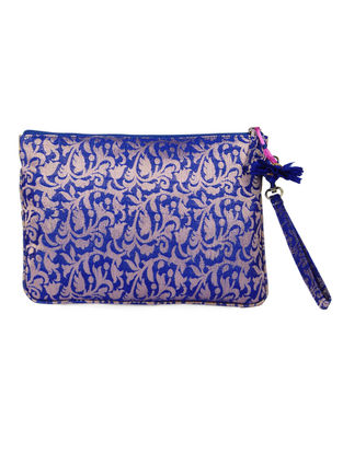 Blue Brocade Silk Wristlet with Detachable Handle