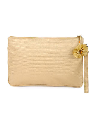 Golden Brocade Silk Wristlet with Detachable Handle
