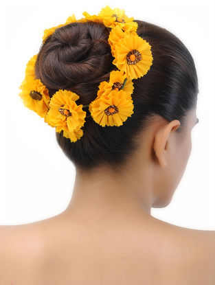 Yellow Handmade Croma Silk Hair Accessory with Floral Motif
