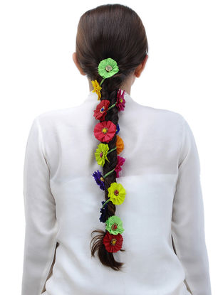 Multicolored Handmade Chanderi Hair Accessory with Floral Motif