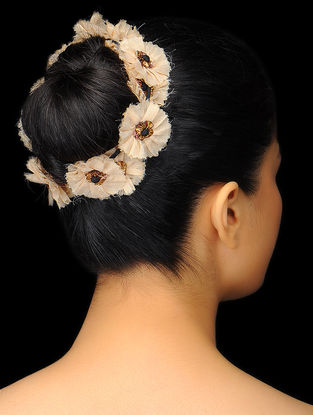 Ivory Chanderi Hair Accessory with Floral Design